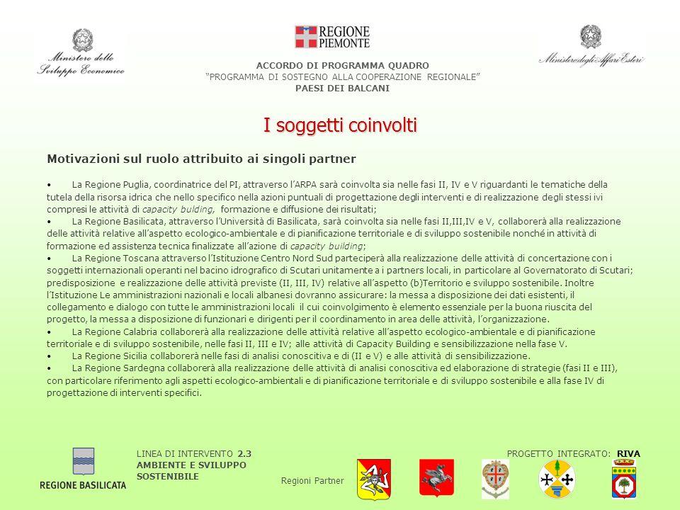 LINEA DI INTERVENTO 2.3 AMBIENTE E SVILUPPO SOSTENIBILE PROGETTO INTEGRATO: RIVA Regioni Partner ACCORDO DI PROGRAMMA QUADRO PROGRAMMA DI SOSTEGNO ALLA COOPERAZIONE REGIONALE PAESI DEI BALCANI I soggetti coinvolti Motivazioni sul ruolo attribuito ai singoli partner La Regione Puglia, coordinatrice del PI, attraverso lARPA sarà coinvolta sia nelle fasi II, IV e V riguardanti le tematiche della tutela della risorsa idrica che nello specifico nella azioni puntuali di progettazione degli interventi e di realizzazione degli stessi ivi compresi le attività di capacity bulding, formazione e diffusione dei risultati; La Regione Basilicata, attraverso lUniversità di Basilicata, sarà coinvolta sia nelle fasi II,III,IV e V, collaborerà alla realizzazione delle attività relative allaspetto ecologico-ambientale e di pianificazione territoriale e di sviluppo sostenibile nonché in attività di formazione ed assistenza tecnica finalizzate allazione di capacity building; La Regione Toscana attraverso lIstituzione Centro Nord Sud parteciperà alla realizzazione delle attività di concertazione con i soggetti internazionali operanti nel bacino idrografico di Scutari unitamente a i partners locali, in particolare al Governatorato di Scutari; predisposizione e realizzazione delle attività previste (II, III, IV) relative allaspetto (b)Territorio e sviluppo sostenibile.