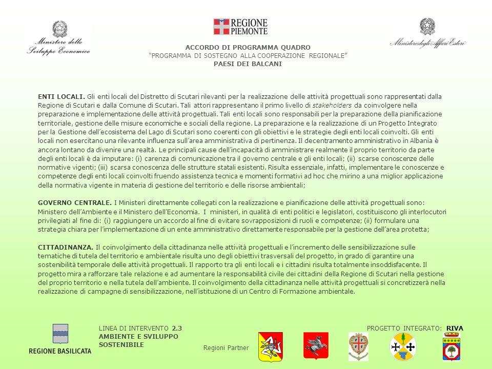 LINEA DI INTERVENTO 2.3 AMBIENTE E SVILUPPO SOSTENIBILE PROGETTO INTEGRATO: RIVA Regioni Partner ACCORDO DI PROGRAMMA QUADRO PROGRAMMA DI SOSTEGNO ALLA COOPERAZIONE REGIONALE PAESI DEI BALCANI ENTI LOCALI.