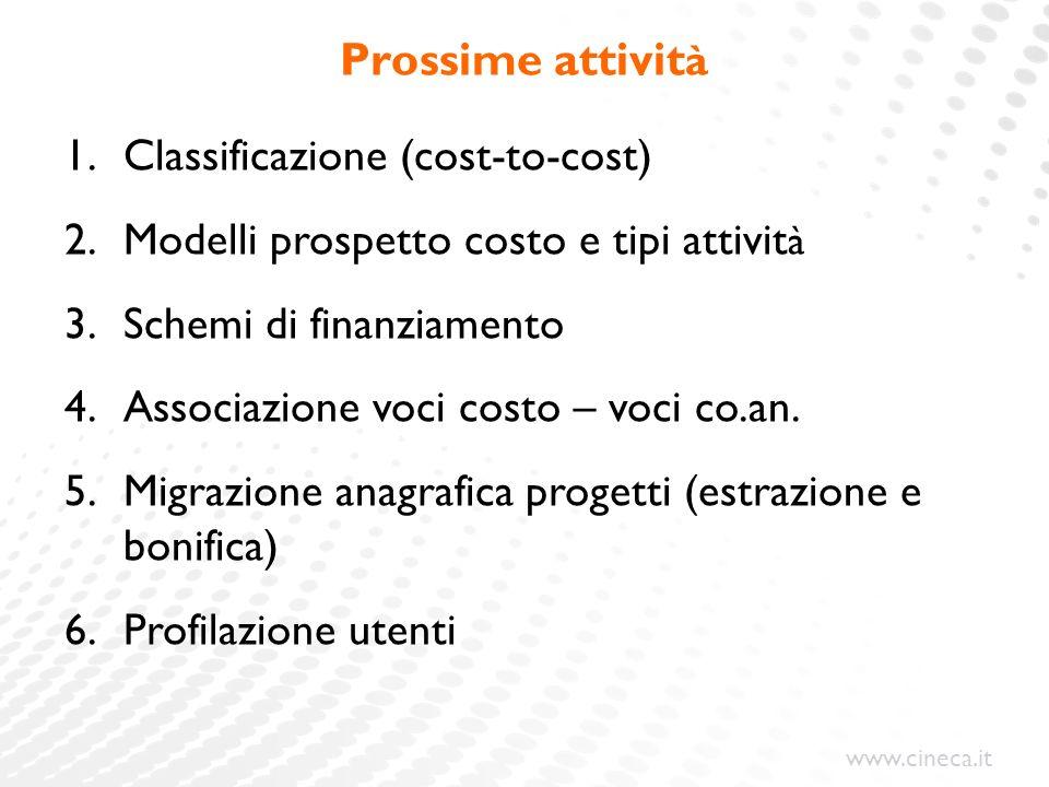 www.cineca.it Prossime attivit à 1.Classificazione (cost-to-cost) 2.Modelli prospetto costo e tipi attivit à 3.Schemi di finanziamento 4.Associazione
