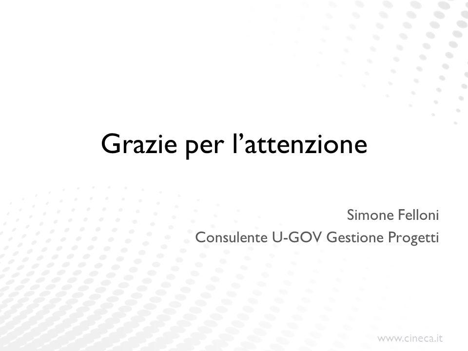 www.cineca.it Grazie per lattenzione Simone Felloni Consulente U-GOV Gestione Progetti
