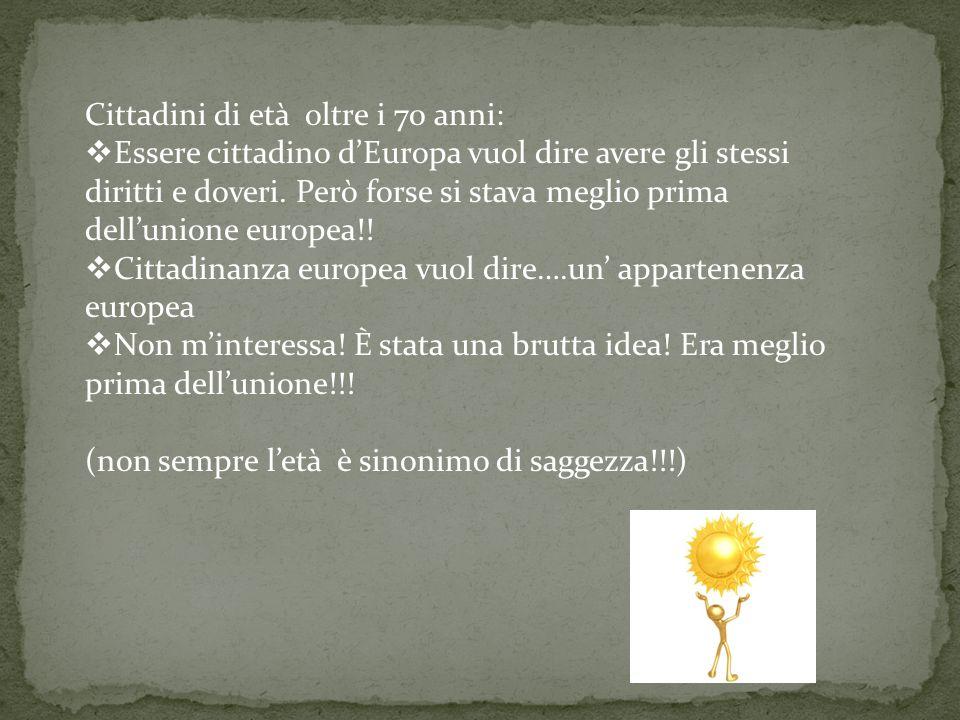 Risposte date dalle persone di età compresa tra i 40 anni e i 70 anni: Chi è nato in Europa. Cittadino che appartiene ad un Paese europeo e che ha un