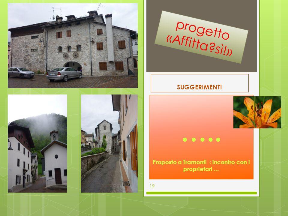 SUGGERIMENTI ….. Proposto a Tramonti : incontro con i proprietari … 19 progetto «Affitta?sì!»