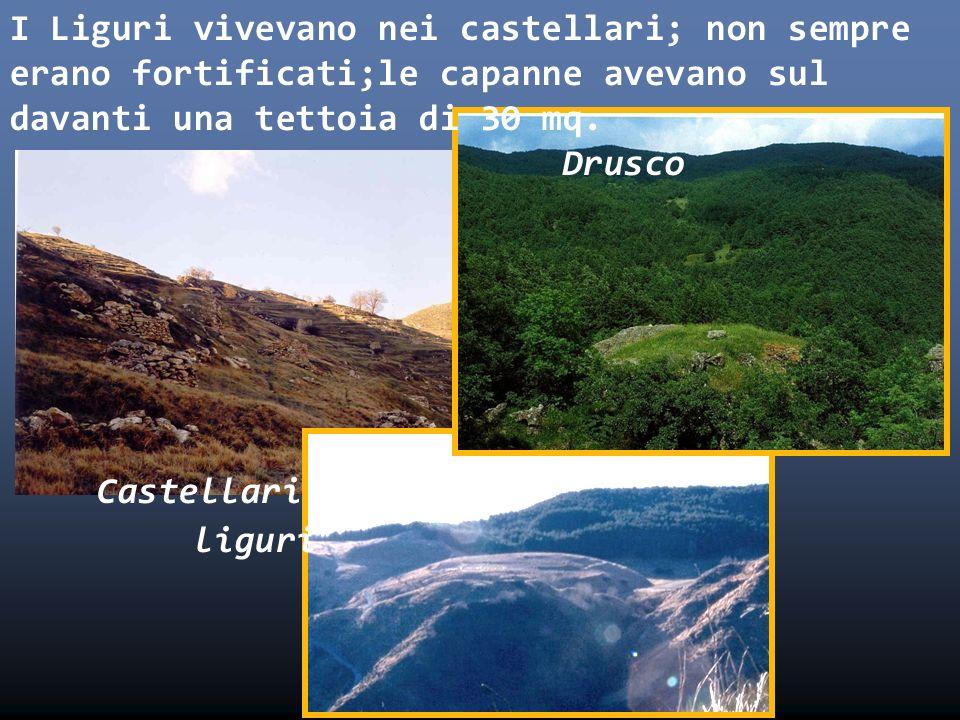 I Liguri vivevano nei castellari; non sempre erano fortificati;le capanne avevano sul davanti una tettoia di 30 mq. Drusco Castellari liguri