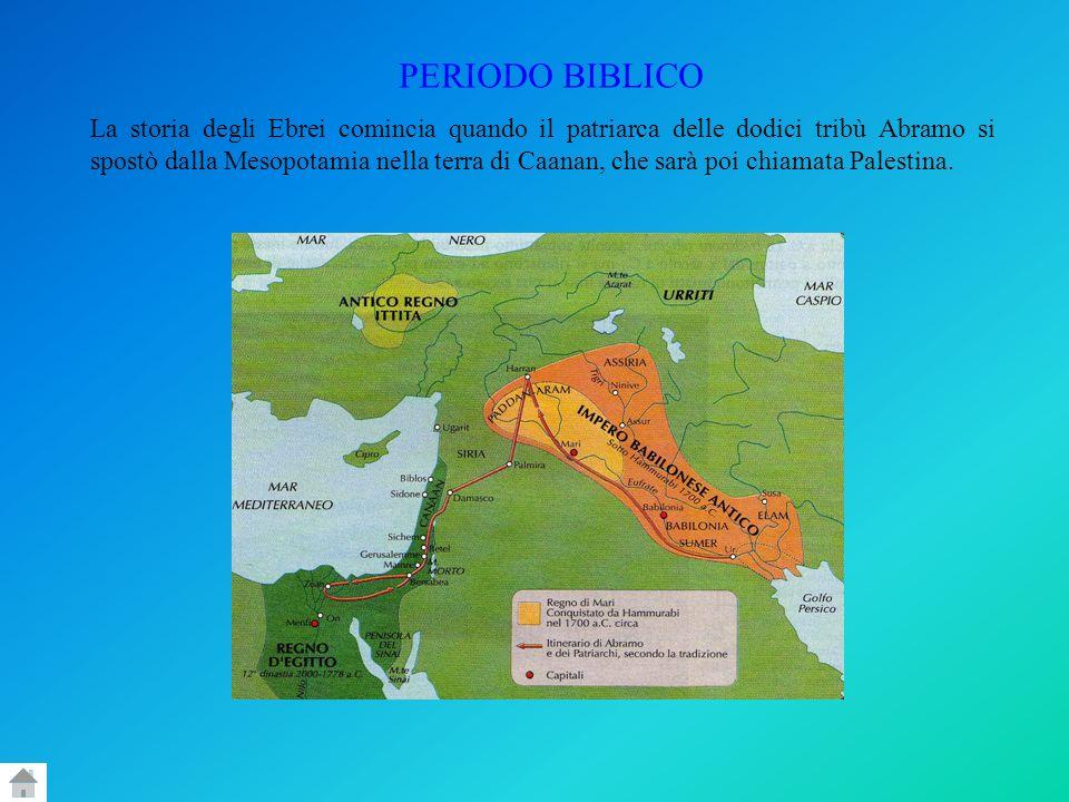 PERIODO BIBLICO La storia degli Ebrei comincia quando il patriarca delle dodici tribù Abramo si spostò dalla Mesopotamia nella terra di Caanan, che sa