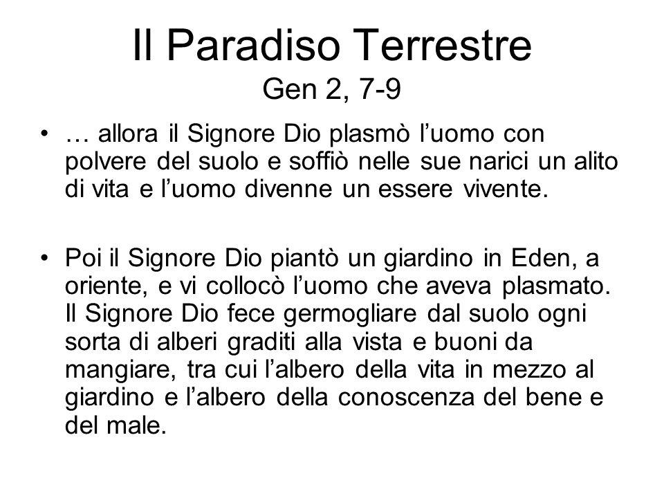 Il Paradiso Terrestre Gen 2, 7-9 … allora il Signore Dio plasmò luomo con polvere del suolo e soffiò nelle sue narici un alito di vita e luomo divenne
