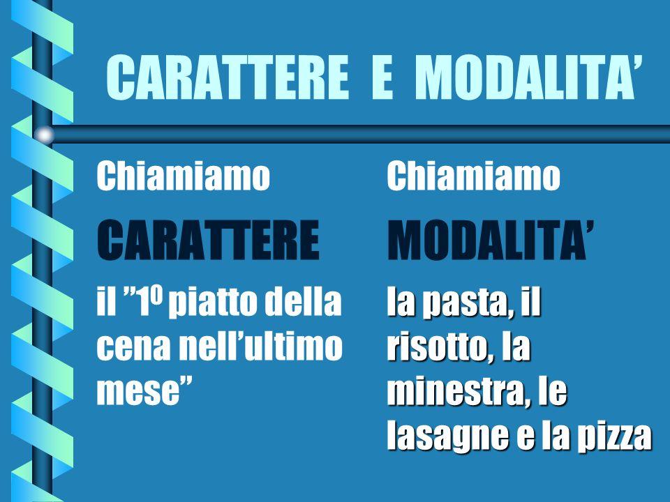 CARATTERE E MODALITA Chiamiamo CARATTERE il 1 0 piatto della cena nellultimo mese Chiamiamo MODALITA la pasta, il risotto, la minestra, le lasagne e la pizza