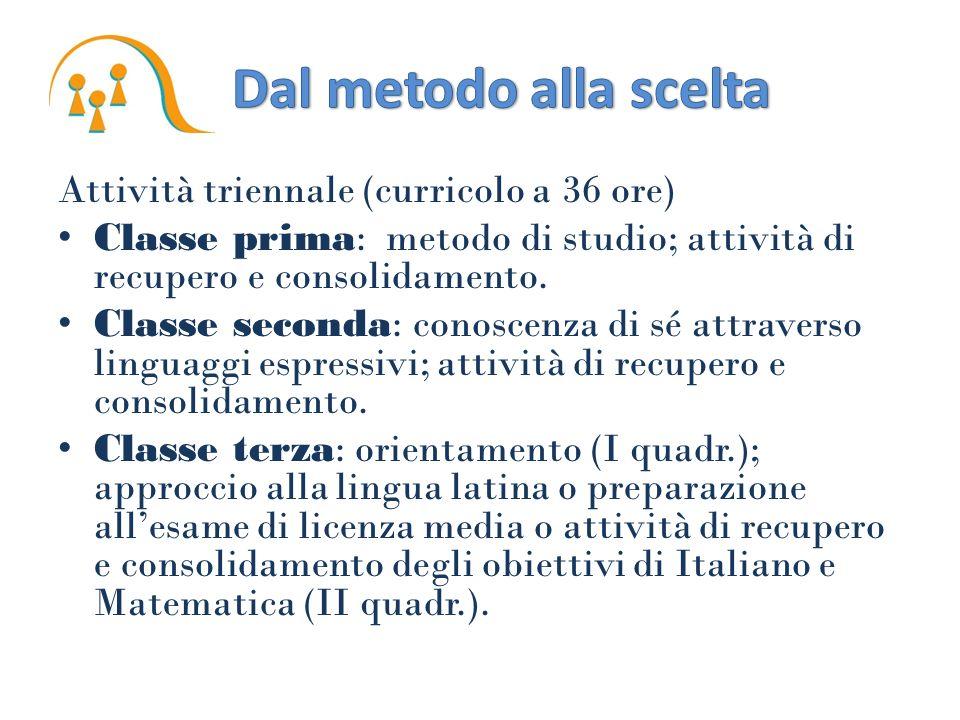 Attività triennale (curricolo a 36 ore) Classe prima: metodo di studio; attività di recupero e consolidamento. Classe seconda: conoscenza di sé attrav
