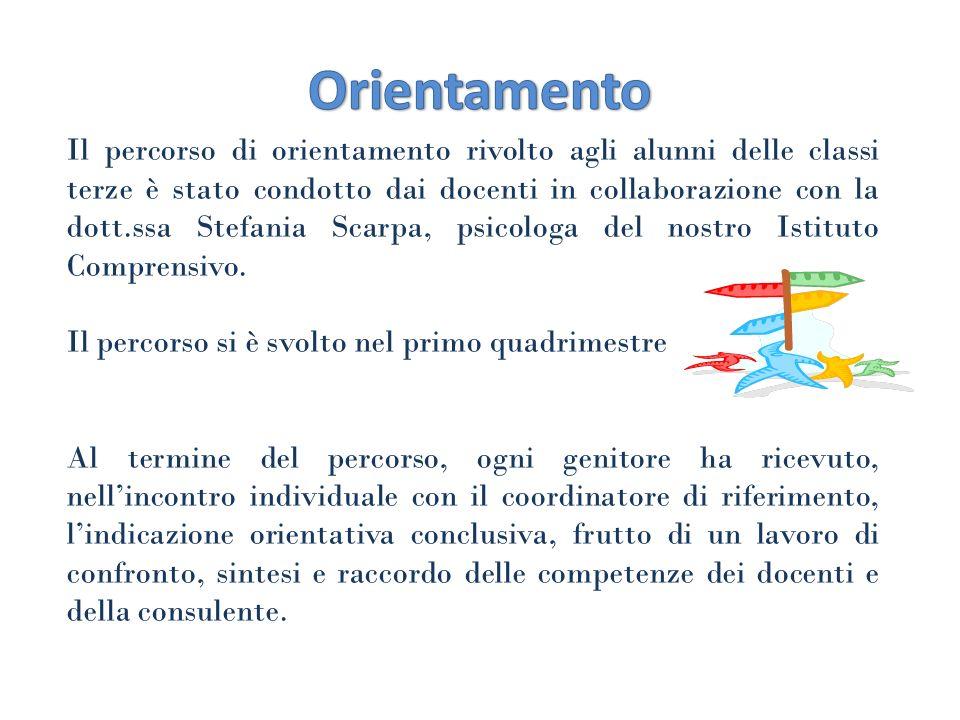 Il percorso di orientamento rivolto agli alunni delle classi terze è stato condotto dai docenti in collaborazione con la dott.ssa Stefania Scarpa, psi