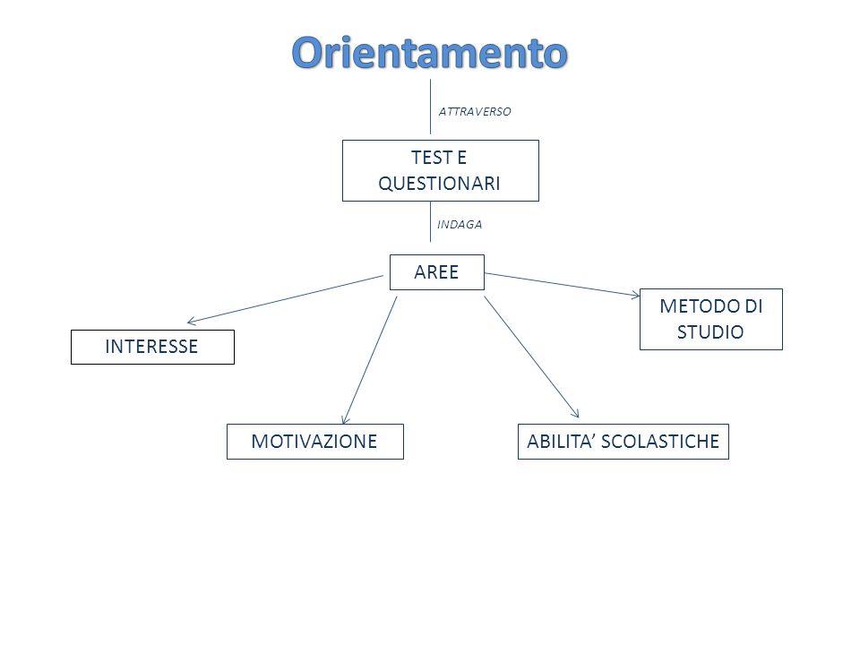 ATTRAVERSO INDAGA TEST E QUESTIONARI AREE INTERESSE METODO DI STUDIO ABILITA SCOLASTICHEMOTIVAZIONE