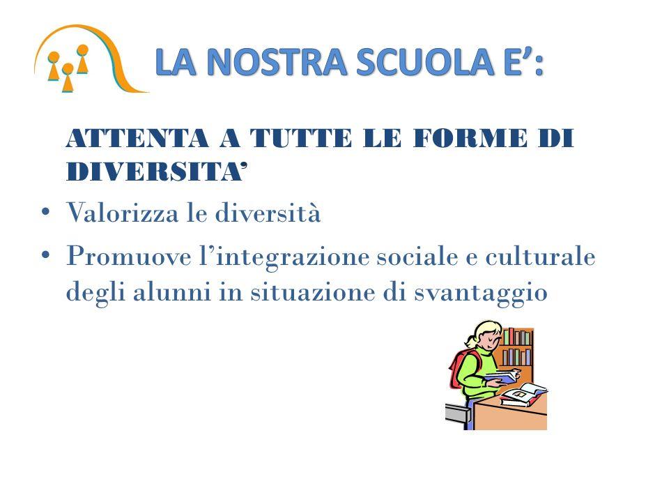 ATTENTA A TUTTE LE FORME DI DIVERSITA Valorizza le diversità Promuove lintegrazione sociale e culturale degli alunni in situazione di svantaggio