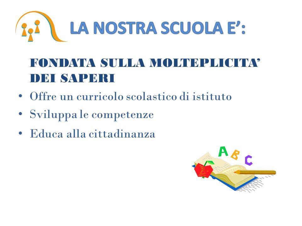 FONDATA SULLA MOLTEPLICITA DEI SAPERI Offre un curricolo scolastico di istituto Sviluppa le competenze Educa alla cittadinanza