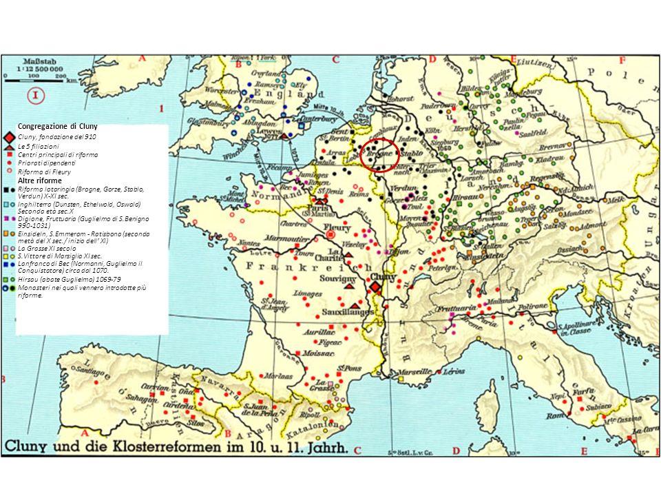 Congregazione di Cluny Cluny, fondazione del 910 Le 5 filiazioni Centri principali di riforma Priorati dipendenti Riforma di Fleury Altre riforme Rifo