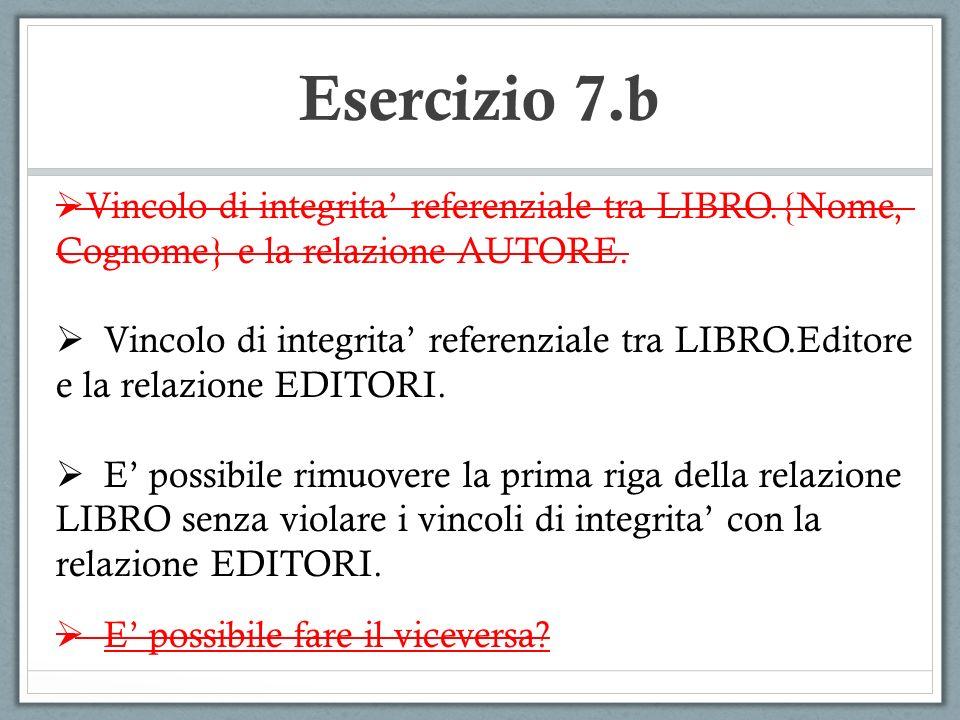 Esercizio 7.b Vincolo di integrita referenziale tra LIBRO.{Nome, Cognome} e la relazione AUTORE.