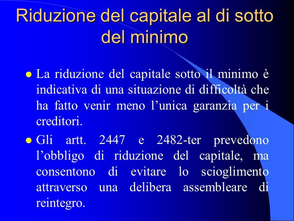 Riduzione del capitale al di sotto del minimo l La riduzione del capitale sotto il minimo è indicativa di una situazione di difficoltà che ha fatto ve
