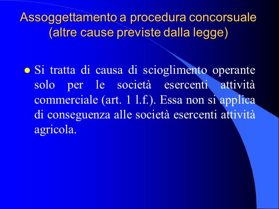 Assoggettamento a procedura concorsuale (altre cause previste dalla legge) l Si tratta di causa di scioglimento operante solo per le società esercenti