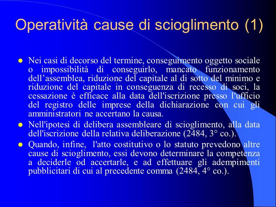Operatività cause di scioglimento (1) l Nei casi di decorso del termine, conseguimento oggetto sociale o impossibilità di conseguirlo, mancato funzion