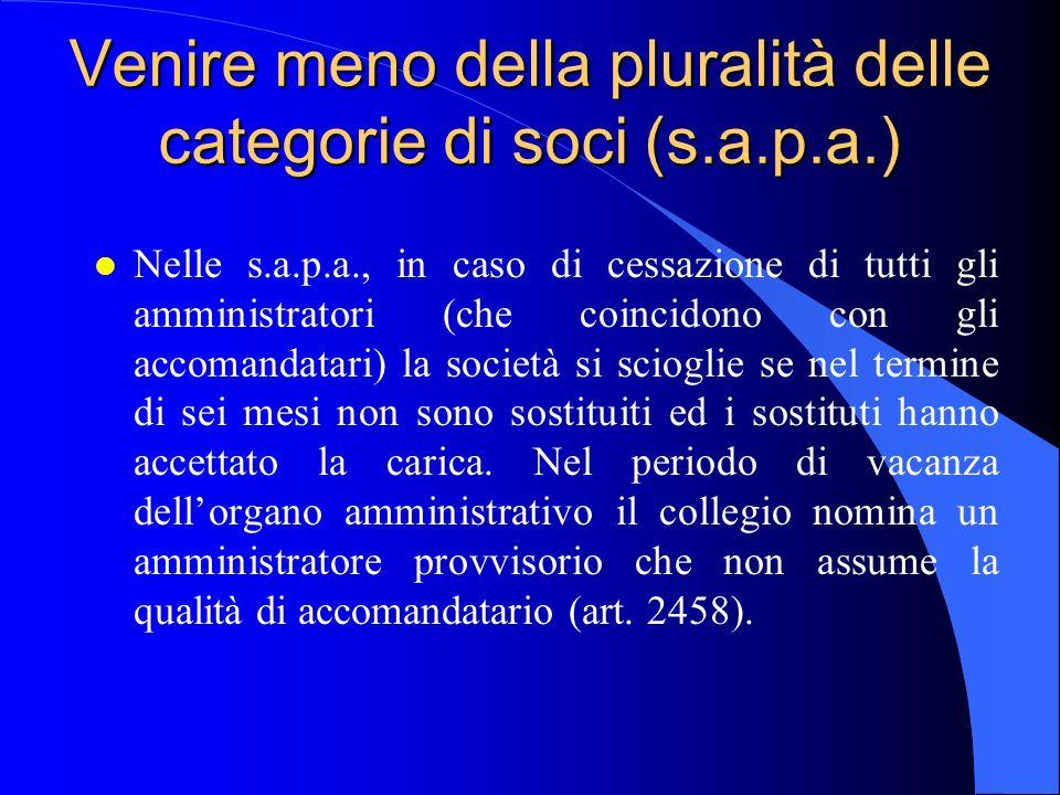 Venire meno della pluralità delle categorie di soci (s.a.p.a.) l Nelle s.a.p.a., in caso di cessazione di tutti gli amministratori (che coincidono con