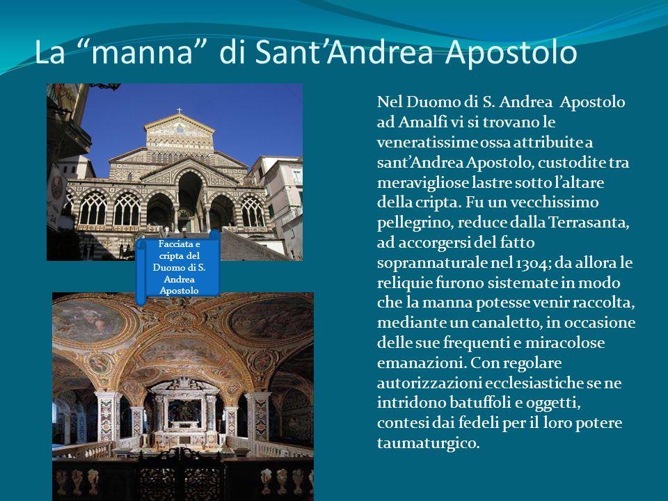 La manna di SantAndrea Apostolo Facciata e cripta del Duomo di S. Andrea Apostolo Nel Duomo di S. Andrea Apostolo ad Amalfi vi si trovano le veneratis