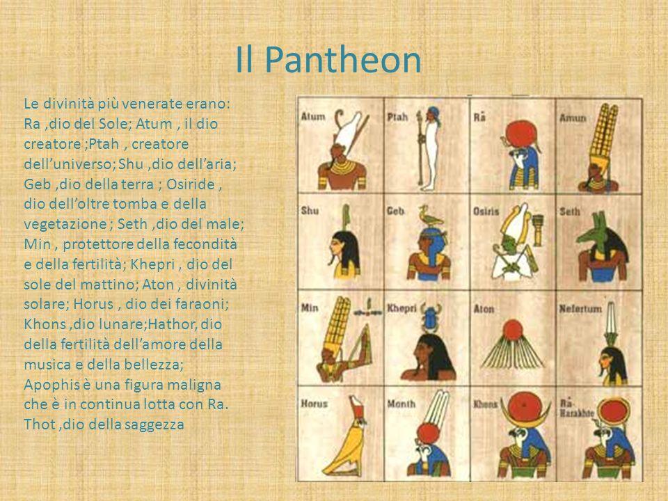 Il Pantheon Le divinità più venerate erano: Ra,dio del Sole; Atum, il dio creatore ;Ptah, creatore delluniverso; Shu,dio dellaria; Geb,dio della terra