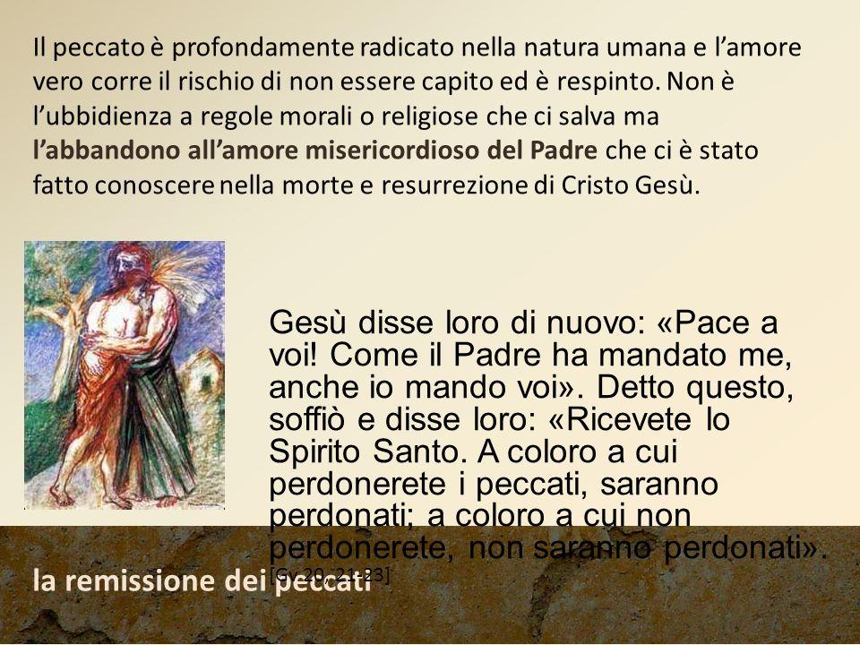 la remissione dei peccati Gesù disse loro di nuovo: «Pace a voi! Come il Padre ha mandato me, anche io mando voi». Detto questo, soffiò e disse loro: