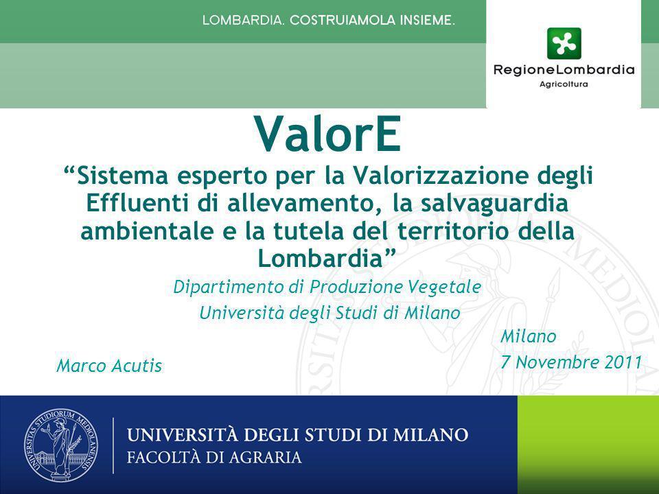 Milano 7 Novembre 2011 Il PROGETTO di RICERCA ValorE Sistema esperto per la Valorizzazione degli Effluenti di allevamento, la salvaguardia ambientale