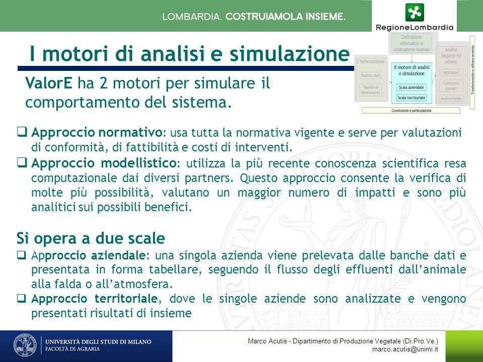 I motori di analisi e simulazione Marco Acutis - Dipartimento di Produzione Vegetale (Di.Pro.Ve.) marco.acutis@unimi.it Approccio normativo : usa tutt