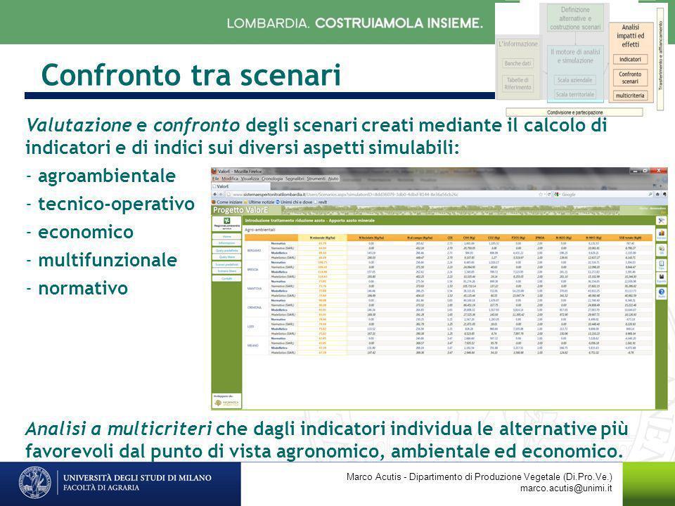 Confronto tra scenari Marco Acutis - Dipartimento di Produzione Vegetale (Di.Pro.Ve.) marco.acutis@unimi.it Valutazione e confronto degli scenari crea