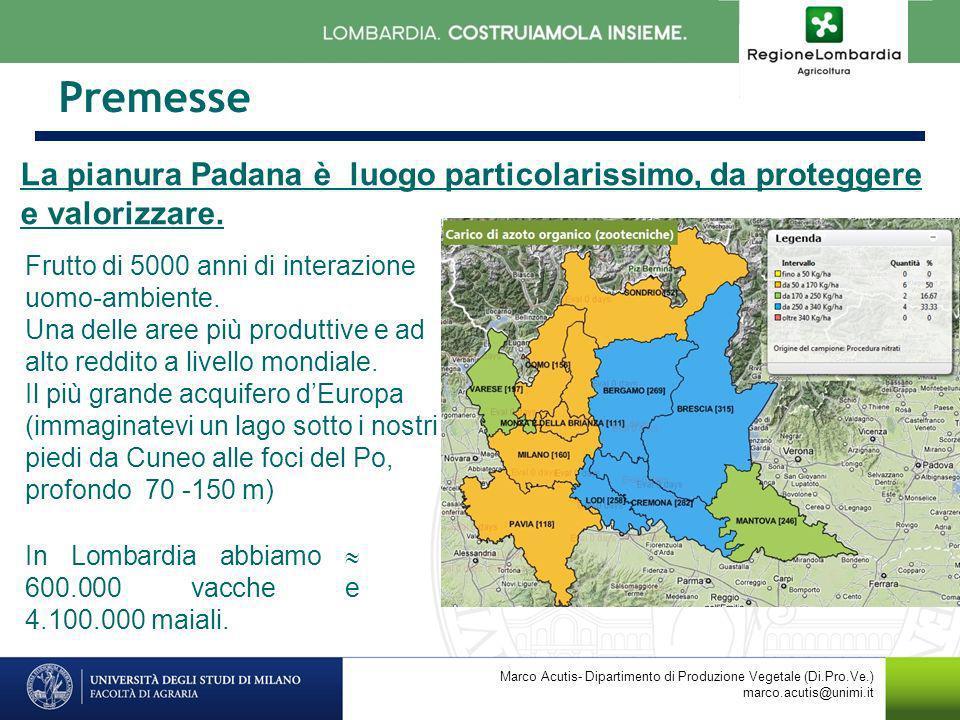 Premesse La pianura Padana è luogo particolarissimo, da proteggere e valorizzare. Marco Acutis- Dipartimento di Produzione Vegetale (Di.Pro.Ve.) marco