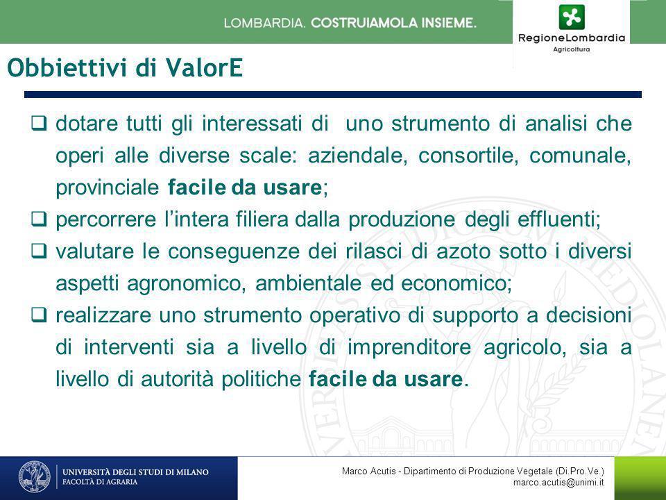 Obbiettivi di ValorE dotare tutti gli interessati di uno strumento di analisi che operi alle diverse scale: aziendale, consortile, comunale, provincia