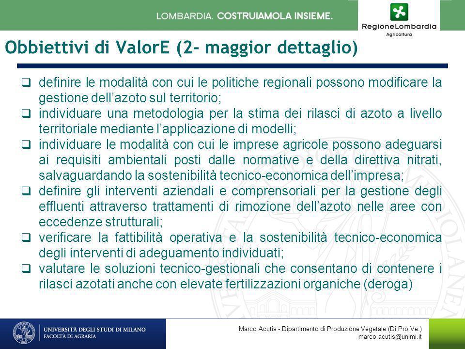 Obbiettivi di ValorE (2- maggior dettaglio) definire le modalità con cui le politiche regionali possono modificare la gestione dellazoto sul territori