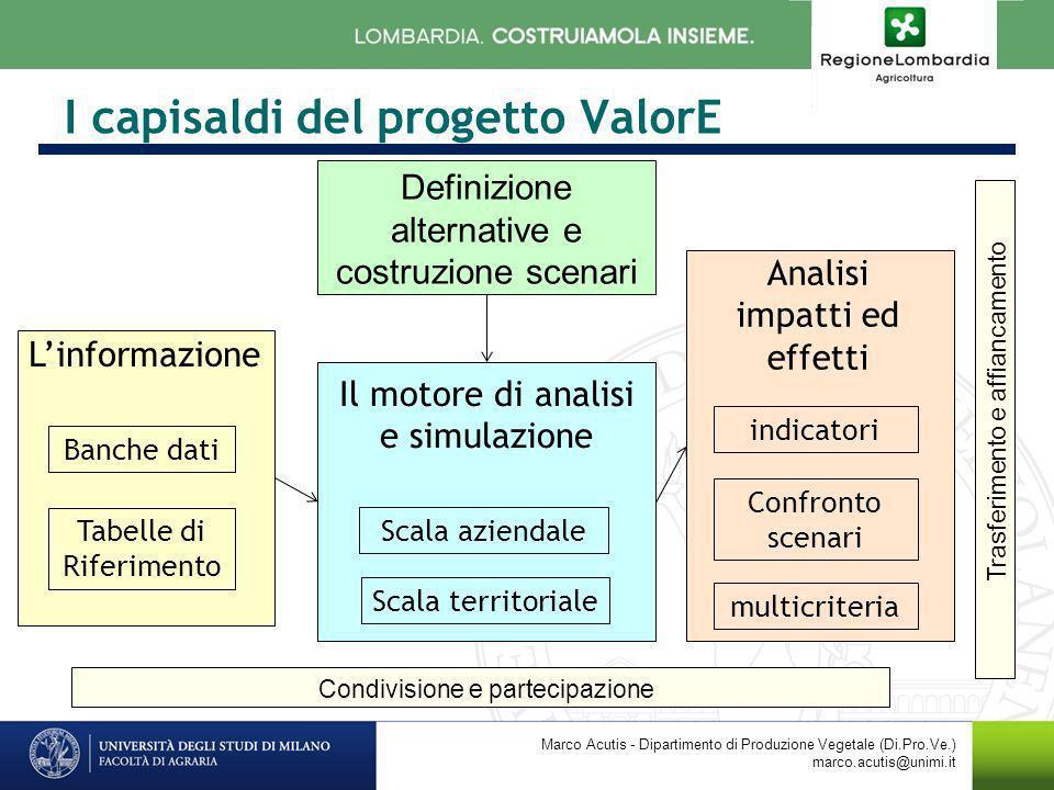 I capisaldi del progetto ValorE Marco Acutis - Dipartimento di Produzione Vegetale (Di.Pro.Ve.) marco.acutis@unimi.it Linformazione Banche dati Tabell