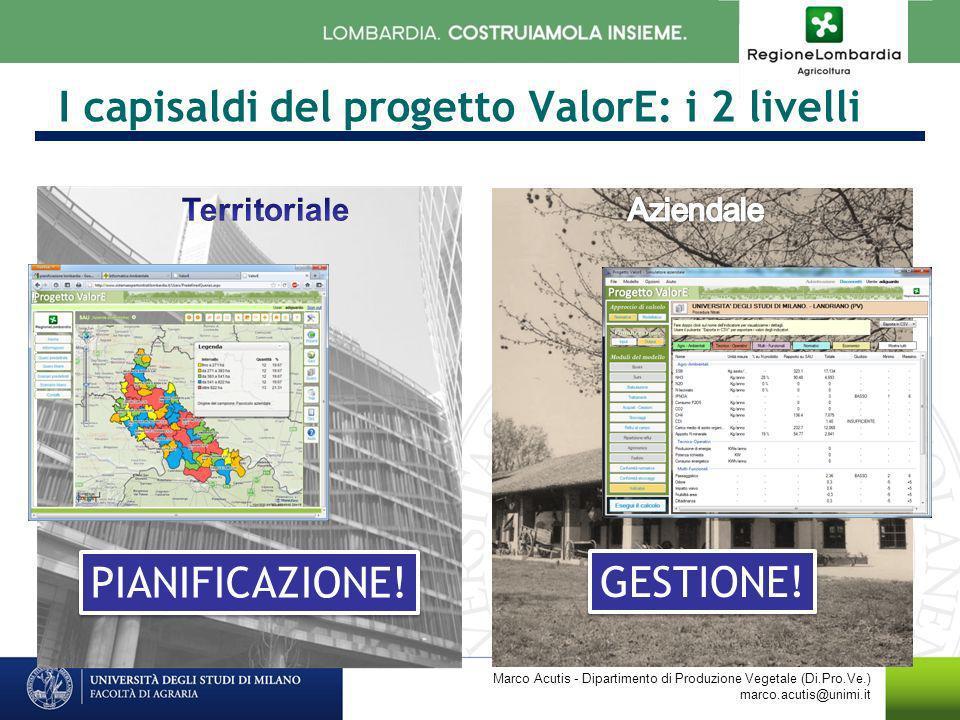 I capisaldi del progetto ValorE: i 2 livelli Marco Acutis - Dipartimento di Produzione Vegetale (Di.Pro.Ve.) marco.acutis@unimi.it PIANIFICAZIONE! GES