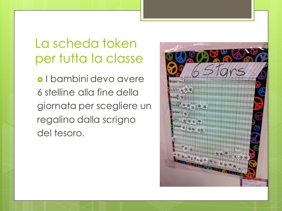 La scheda token per tutta la classe I bambini devo avere 6 stelline alla fine della giornata per scegliere un regalino dalla scrigno del tesoro.