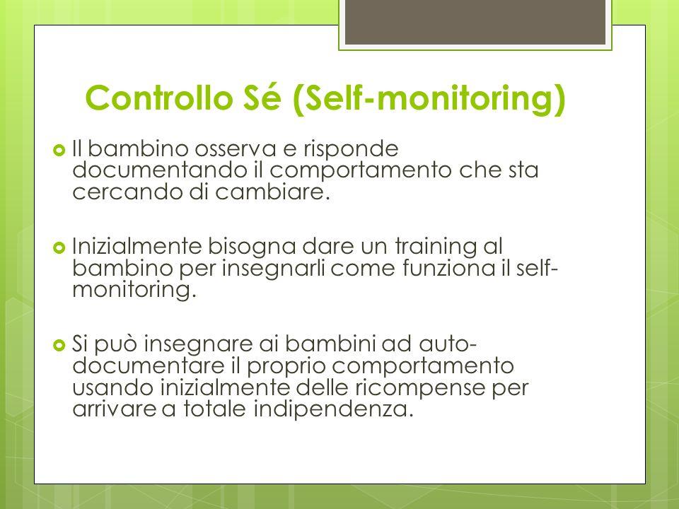 Controllo Sé (Self-monitoring) Il bambino osserva e risponde documentando il comportamento che sta cercando di cambiare. Inizialmente bisogna dare un
