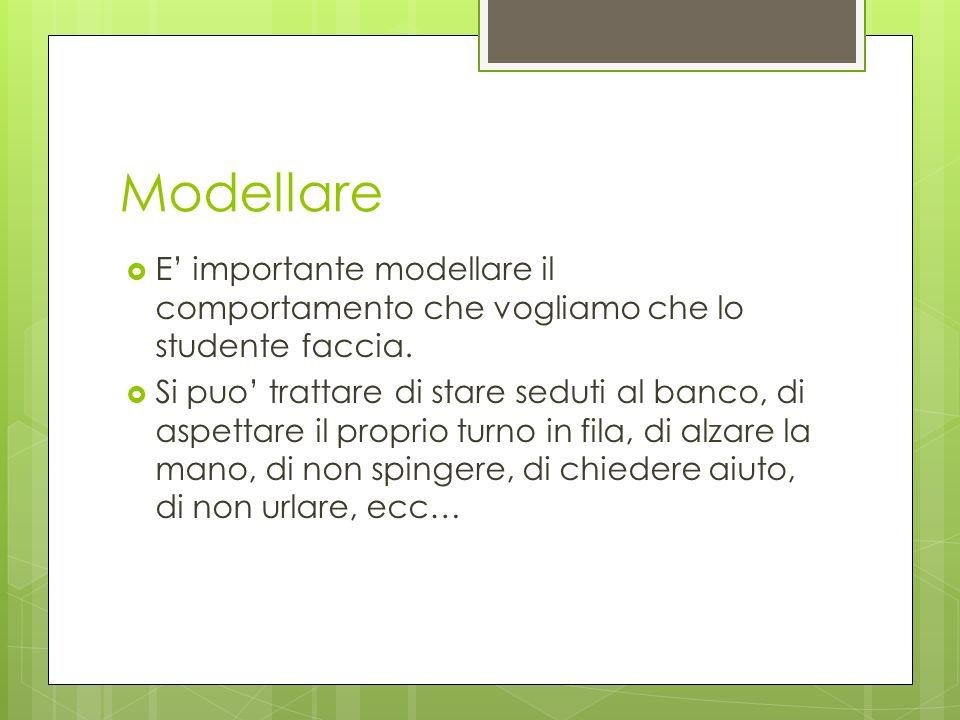 Modellare E importante modellare il comportamento che vogliamo che lo studente faccia. Si puo trattare di stare seduti al banco, di aspettare il propr