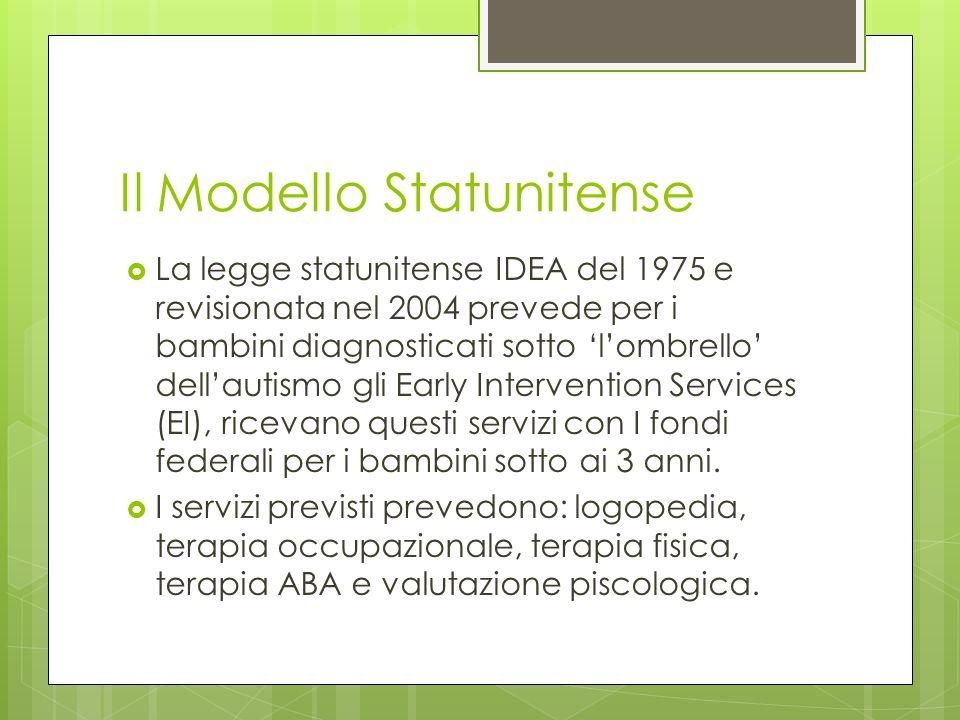 Il Modello Statunitense La legge statunitense IDEA del 1975 e revisionata nel 2004 prevede per i bambini diagnosticati sotto lombrello dellautismo gli