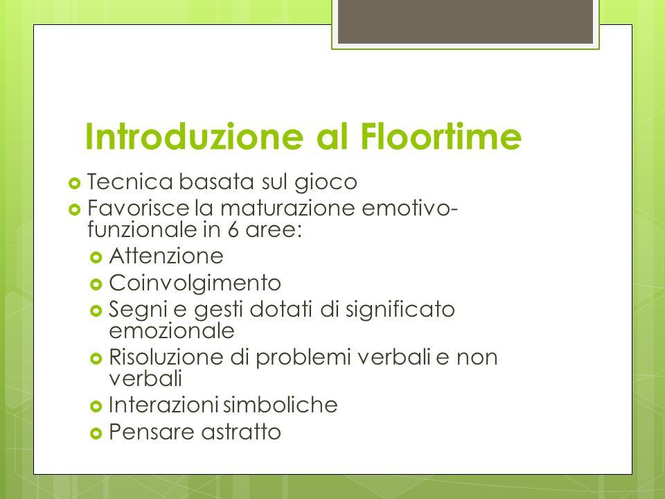 Introduzione al Floortime Tecnica basata sul gioco Favorisce la maturazione emotivo- funzionale in 6 aree: Attenzione Coinvolgimento Segni e gesti dot