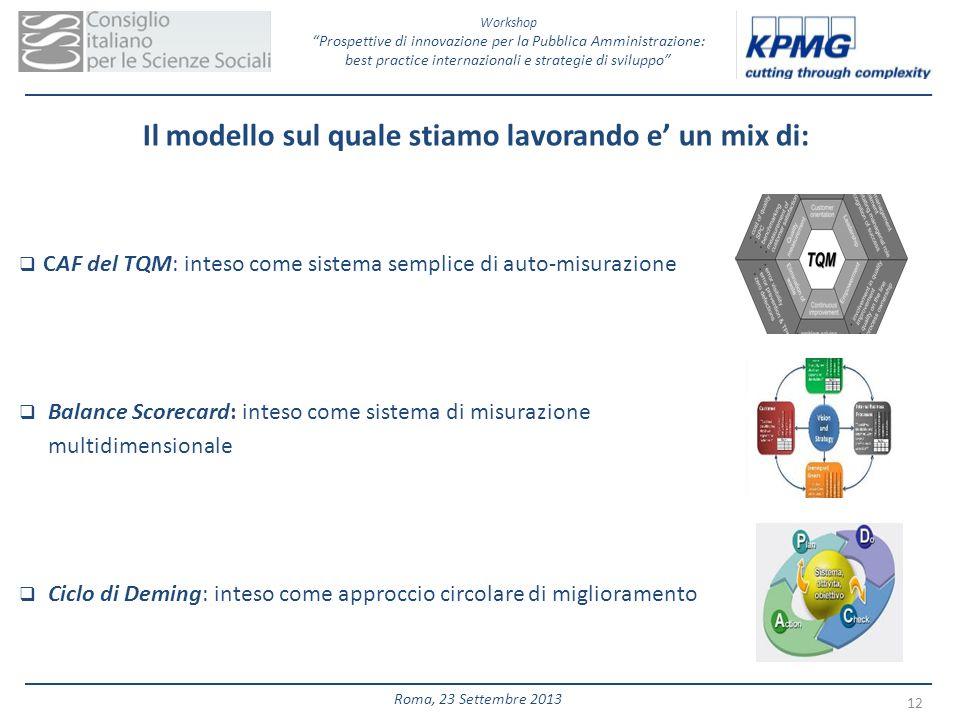Workshop Prospettive di innovazione per la Pubblica Amministrazione: best practice internazionali e strategie di sviluppo 12 Roma, 23 Settembre 2013 I