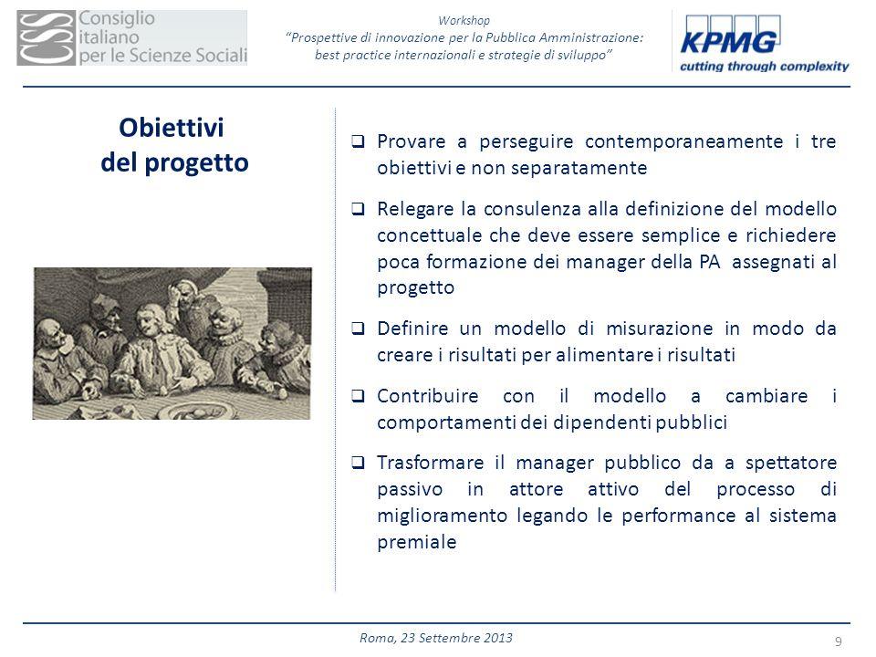 Workshop Prospettive di innovazione per la Pubblica Amministrazione: best practice internazionali e strategie di sviluppo 9 Roma, 23 Settembre 2013 Ob