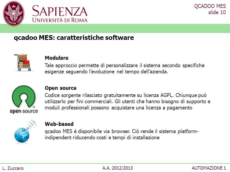QCADOO MES slide 10 L. Zuccaro A.A. 2012/2013AUTOMAZIONE 1 Modulare Tale approccio permette di personalizzare il sistema secondo specifiche esigenze s
