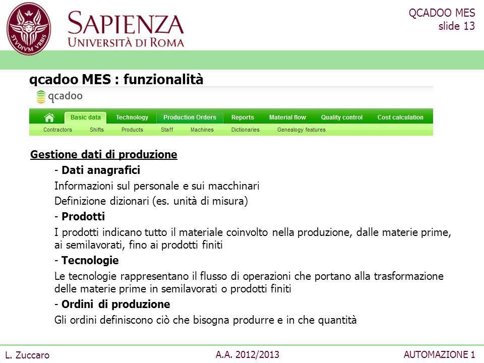 QCADOO MES slide 13 L. Zuccaro A.A. 2012/2013AUTOMAZIONE 1 Gestione dati di produzione - Dati anagrafici Informazioni sul personale e sui macchinari D