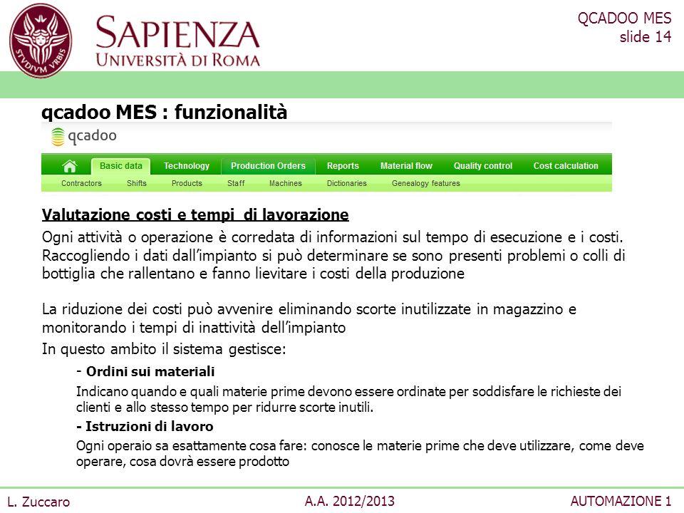 QCADOO MES slide 14 L. Zuccaro A.A. 2012/2013AUTOMAZIONE 1 Valutazione costi e tempi di lavorazione Ogni attività o operazione è corredata di informaz