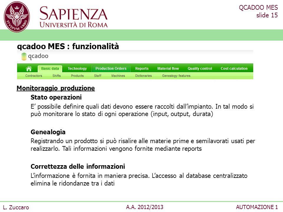 QCADOO MES slide 15 L. Zuccaro A.A. 2012/2013AUTOMAZIONE 1 Monitoraggio produzione Stato operazioni E possibile definire quali dati devono essere racc