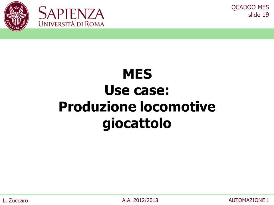 QCADOO MES slide 19 L. Zuccaro A.A. 2012/2013AUTOMAZIONE 1 MES Use case: Produzione locomotive giocattolo