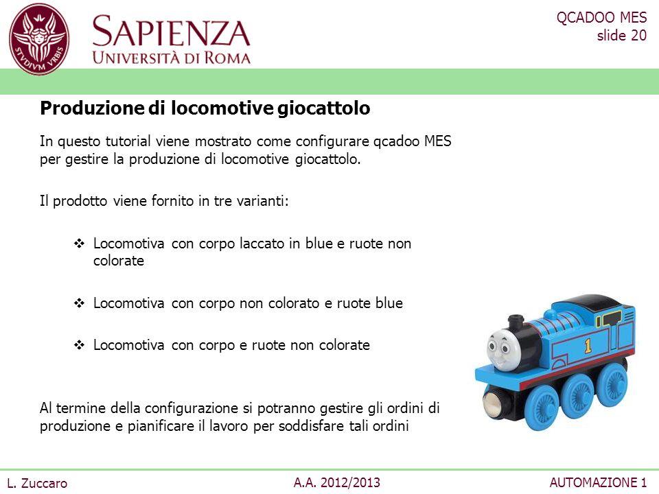 QCADOO MES slide 20 L. Zuccaro A.A. 2012/2013AUTOMAZIONE 1 In questo tutorial viene mostrato come configurare qcadoo MES per gestire la produzione di
