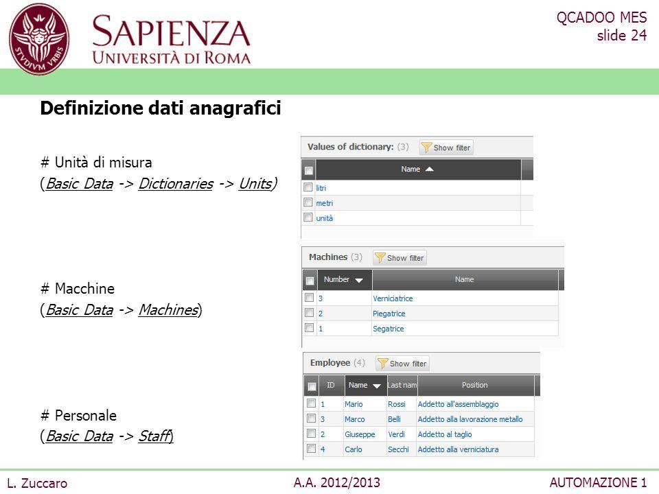 QCADOO MES slide 24 L. Zuccaro A.A. 2012/2013AUTOMAZIONE 1 # Unità di misura (Basic Data -> Dictionaries -> Units) # Macchine (Basic Data -> Machines)