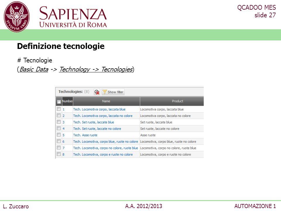 QCADOO MES slide 27 L. Zuccaro A.A. 2012/2013AUTOMAZIONE 1 # Tecnologie (Basic Data -> Technology -> Tecnologies) Definizione tecnologie