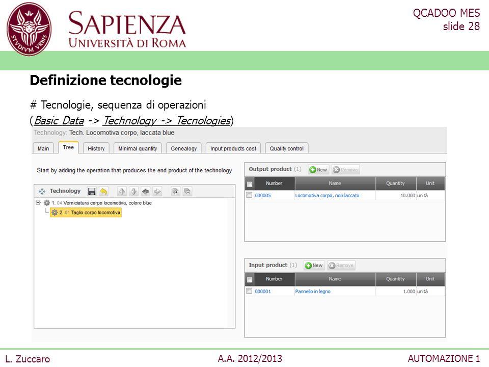 QCADOO MES slide 28 L. Zuccaro A.A. 2012/2013AUTOMAZIONE 1 # Tecnologie, sequenza di operazioni (Basic Data -> Technology -> Tecnologies) Definizione