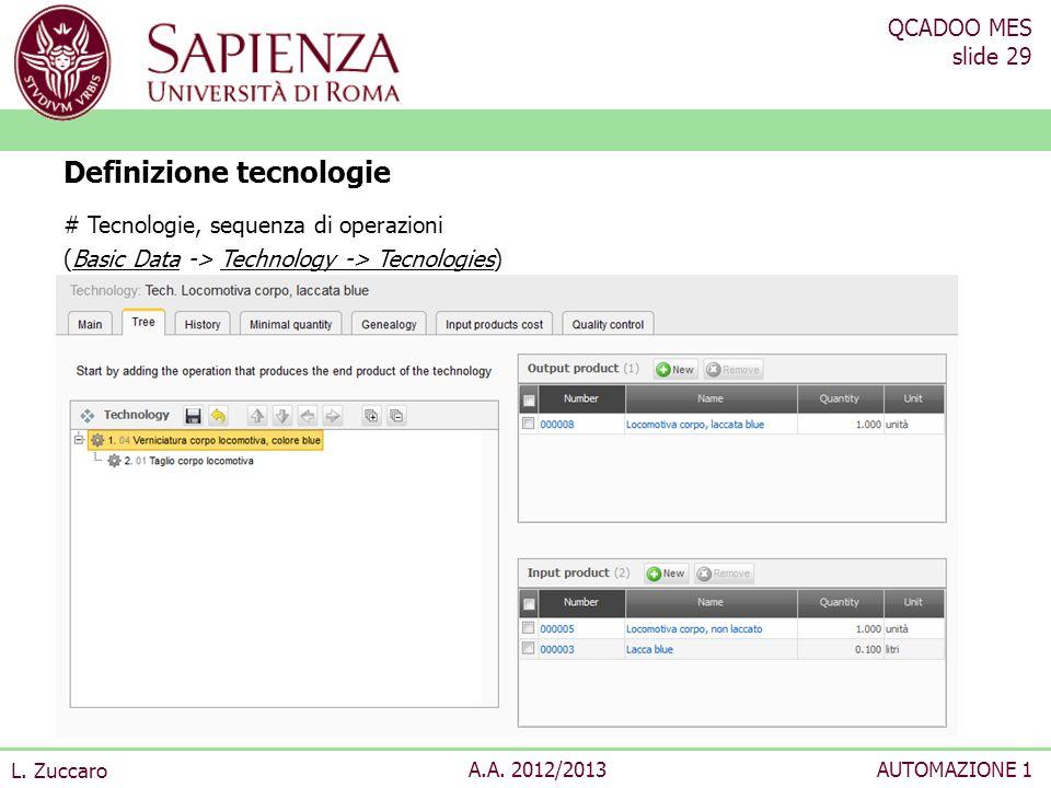 QCADOO MES slide 29 L. Zuccaro A.A. 2012/2013AUTOMAZIONE 1 # Tecnologie, sequenza di operazioni (Basic Data -> Technology -> Tecnologies) Definizione