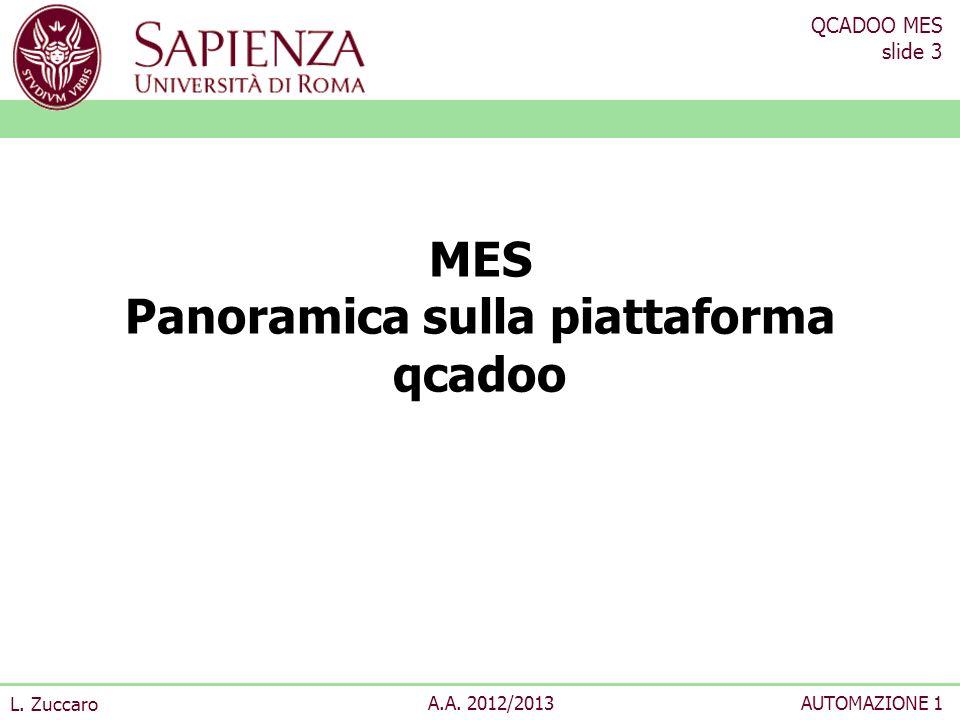 QCADOO MES slide 4 L.Zuccaro A.A. 2012/2013AUTOMAZIONE 1 Cosè qcadoo MES.